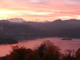 Autumn sunset at Lake Orta, Italy's most enchanting lake. Photo taken from Villa Gelsomina October 2007. Come and see for yourself! Click on photo for more on the local area...