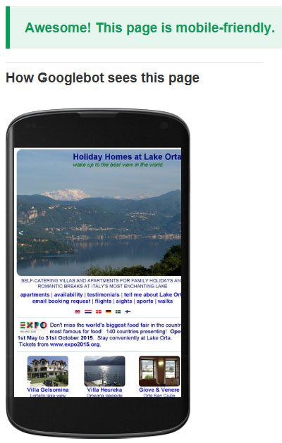 Google has now approved LakeOrta.com as mobile friendly. Yay!