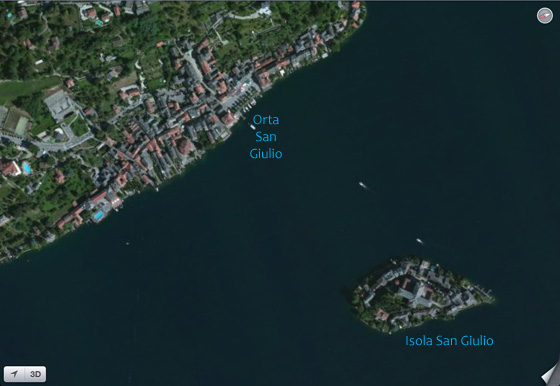 Aeral View from Google Maps (summer 2012) of Orta San Giulio