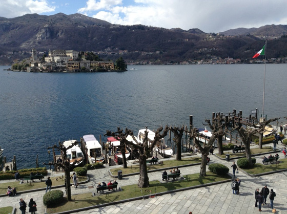 Winter view of Piazza Motta and the Island of San Giulio