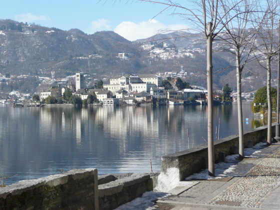 Island of San Giulio from cobbled path around the Orta peninsular (taken 15/2/2012)