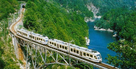 The spectacular single track railway, the Vigezzina, running the length of the Val Vigezzo, from Domodossola to Locarno.